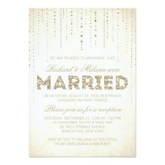 Gold Glitter Look Wedding Reception Only 5x7 Paper Invitation Card