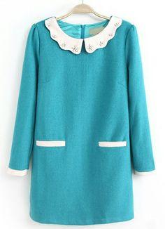 Blue Long Sleeve Bead Pockets Straight Dress US$37.05