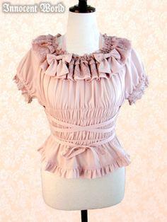 Innocent World - Blouse - Ribbon Shirring Blouse /// ¥16,965 /// Bust:  128cm Waist:  58~108cm