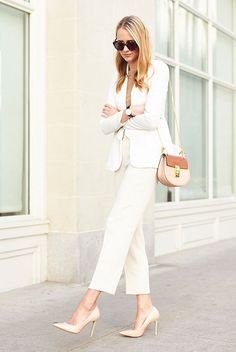 spring outfit summer outfit spring fashion summer fashion street style street chic style work outfit office outfit business casual night out outfit - white blazer camel light sweater white ankle pants nude heels nude shoulder bag brown sunglasses Women's Summer Fashion, Look Fashion, Trendy Fashion, Fashion Outfits, Trendy Style, Curvy Fashion, Heels Outfits, Summer Fashions, Curvy Style