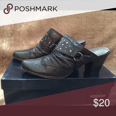Kesha Mules Black studded, lightly worn slip on mules Andrew Geller Shoes Mules & Clogs