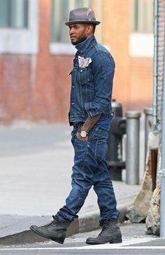 Celebrity Style Update: Usher, Zac Efron, David Beckham, Diggy Simmons, Lil Wayne and more. Fashion Mode, Denim Fashion, Urban Fashion, Latest Fashion, Mode Masculine, Stylish Men, Men Casual, Estilo Hip Hop, Mode Man