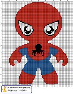 Bebe Spiderman Un Super Heroe en  Punto de cruz. http//www.puntodecruzweb.blogspot.com
