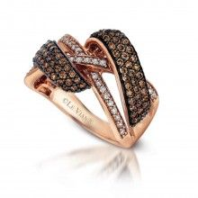 LeVian 1.24 Carats Chocolate and White Diamonds Pave Set Cross Over Ring in 14K Rose Gold  http://www.bengarelick.com/designer/le-vian/levian-1-24-carats-chocolate-and-white-diamonds-pave-set-cross-over-ring-in-14k-rose-gold