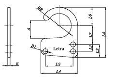 Dibujo técnico de Anilla abierta. Anilla adaptable a muelles de tracción, para hacer la función de estirar sin fatigar ni desgastar el muelle.. Fabricado en hierro ST37 y recubrimiento Cincado.