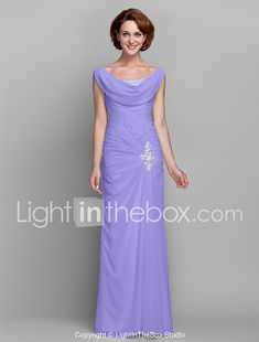 Sheath / Column Cowl Neck Floor Length Chiffon Mother of the Bride Dress with Beading Buttons Crystal Detailing by LAN TING BRIDE® 2018 - $109.99