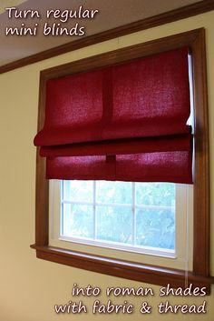 Use your existing mini blinds, and turn them into roman shades! Just get fabric slightly larger than the blinds, and sew them to the blinds with matching thread. Removable and inexpensive, great for renters! Diy Projects To Try, Home Projects, Apartment Projects, Crafty Projects, Sewing Projects, Window Coverings, Window Treatments, Pool Table Room, Diy Roman Shades