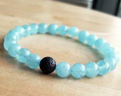 8 mm Aquamarine bracelet Lava yoga bracelets friendship bracelet Healing Bracelet bead Jewelry Women meditation prayer bracelet B238-1