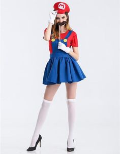 Product Code: MHC0230072Package included: beard,hat,gloves,top and jumperGender: FemaleAge Group: AdultColor:red,greenPattern: Super Mario costumeMaterial: Polyester Fiber2016 the latest Halloween costumes are available. Unique design, comfy fitting, true to size chart, affordable price, buy discount 2016 Halloween costume for women and girls from Fad Cover now.