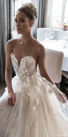 elihav sasson spring 2018 bridal sleeveless illusion jewel sweetheart embellished ruched bodice tulle ball gown wedding dress (vj 007) zv sweep train romantic princess -- Elihav Sasson 2018 Wedding Dresses