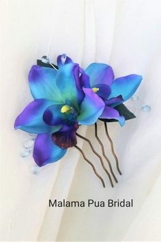 Tropical Hawaiian ROYAL BLUE Two Orchids with leaves hair flower clip weddings-