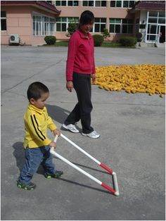 S- low vision or blindness E- school, home, outdoors T- walking, gross motor,  T- PVC pipe built to square