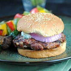 Lamb Burgers with Cilantro Raita. Lamb Burgers with Cilantro Raita. Lamb Sandwich, Hotdog Sandwich, Sausage Sandwiches, Burger Recipes, Grilling Recipes, Beef Recipes, Big Burgers, Lamb Burgers, Wrap Recipes