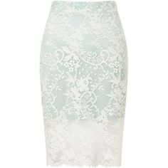 Miss Selfridge PETITE Lace Pencil Skirt (€18) ❤ liked on Polyvore featuring skirts, bottoms, saias, mint green, petite, knee length lace skirt, lace skirt, white pencil skirt, mint pencil skirt and mint green skirt