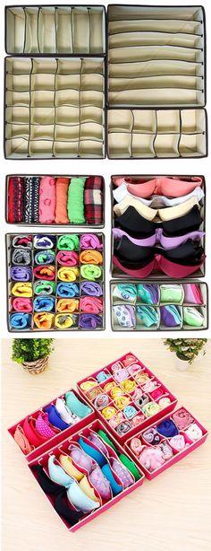 $19.99 USD ! ! SHOP NOW>> 4pcs Closet Underwear Organizer Non Woven Bra Underwear Socks Drawer Storage Boxes