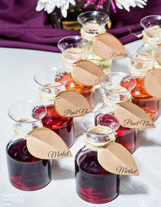 Festive Fall Inspiration: Display labeled wine carafes for guests to enjoy. | SmartyHadAParty.com