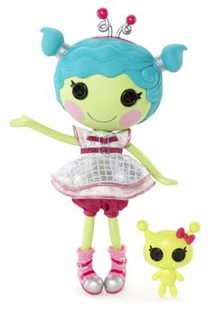 Haley Galaxy was sewn on 12th Feb (Extraterrestrials Visitors Day) from an unidentified shiny object. She likes making wishes on falling stars and collecting moon rocks. She's got a bounce in her step and stars in her eyes. She has a pet alien.