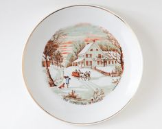 Vintage Winter scene the homestead in winter by AlbertsAttic $18 Vintage Winter scene, the homestead in winter, currier and ives, plate, decorative plate, horse drawn carriage, sleigh ride, christmas