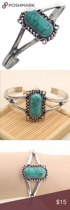 Cuff Bracelet Beautiful silver toned cuff bracelet with a turquoise colored stone. The design on the stone may vary slightly. New in package. Jewelry Bracelets