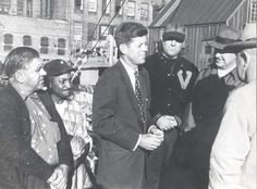 1952. John Kennedy during Senate campaign at New Bedford State Pier.