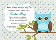Custom Printable Owl Baby Shower or Birthday Invitation by SweetBeeDesignShoppe on Etsy
