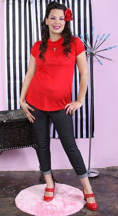 561ee9a2966 Skully Ruffle Tunic Punk Rockabilly Goth RED maternity top from MamaSan  Maternity Apparel
