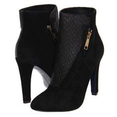 "⭐️celebrity fav ⭐️Rebecca Minkoff Dante Bootie Celebrity favorite----Color : Black (Suede )Size : 9M Condition : New Exotic snakeskin wraps asymmetrical chic around a rich suede bootie.100% Kid Leather Approx. heel height: 4""---Approx. boot shaft height: 4""----Suede and snakeskin upper Leather lining and sole. Side Zip Salon Shoes. Imported Authentic ""Rebecca Minkoff"" Pumps - had to buy these because I love them but they were to small so selling in excellent brand new condition!! Rebecca…"