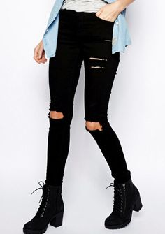 Jeans Black Slim Cut Ripped Pants