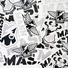 MASH STICKERS, Black, White, Silver