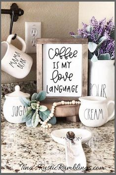 Coffee Is My Love Language Sign, Hand Lettered Sign, Coffee Bar, Coffee Sign, Rae Dunn Coffee #coffee #coffeebar #afflink #decor #raedunn #coffeelover #rustic #rusticdecor #farmhouse #farmhousestyle #wood #woodsigns