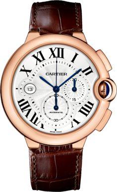 Ballon Bleu de Cartier watch XL, 18K pink gold, leather