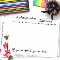 Free Printable Habit Tracker September Bullet Journal Spread - Wundertastisch