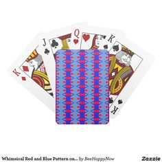 Whimsical Red and Blue Pattern on Playing Cards