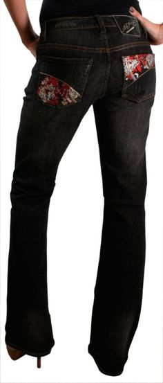 0460b16d04a Ed Hardy Christian Audigier Womens Beautiful Ghost Straight Leg Slim Fit  Jeans Denim
