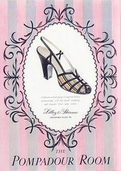Pompadour Room Shoes ad., Sept. 1950, Vogue British.