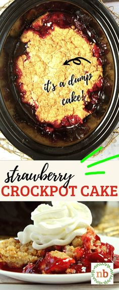 Easy slow cooker dump recipe for strawberry cake. A yummy dessert with only 3 ingredients! Dump Cake Recipes, Homemade Cake Recipes, Dessert Recipes, Easy Recipes, Canned Strawberries, Easy Cakes To Make, Delicious Desserts, Yummy Food, Dump Meals