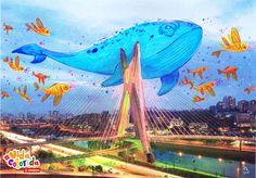 Ponte Estaiada / Ilustrador: Mika Takahashi