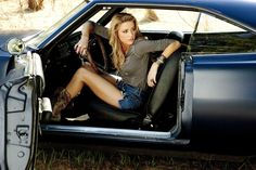 Talk about every man's dream!! God I want that. One day I'll have it!   (Amber Heard inside a 68 camaro)