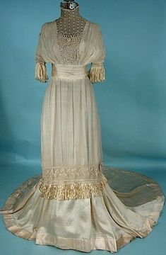 "Circa 1910 Ecru ""Artificial Silk"" dress with Fringe and Beads."