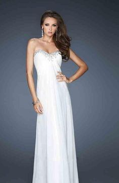 Elegant Sweetheart White No Waist/Princess Seams Sleeveless A-Line Prom Dresses In Stock momodresses27137