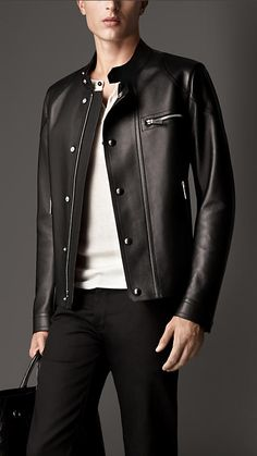 Bonded Nappa Leather Racer Jacket | Burberry