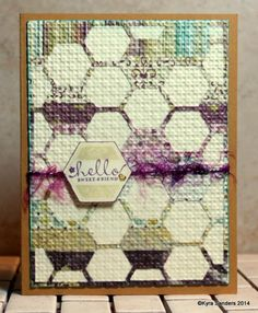 """hand crafted card: Quilted Friend kcs by Scrapacat  ... die cut hexagon flowers ... mostly outlies ... """"fused""""/embedded with embossing folder ...  Stampin' Up!"""