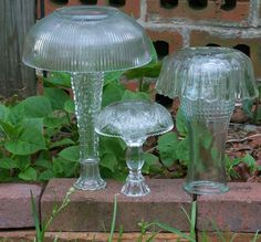 3 Upcycled Yard Art Vintage Glass Mushrooms by DirtRoadDecor, $23.00