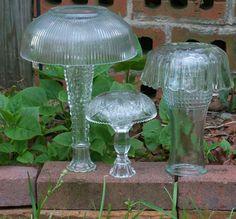 3 Upcycled Yard Art Vintage Glass Mushrooms by DirtRoadDecor, $23.00 bowl, garden mushroom, diy art, garden art, yard art, gardens, diy projects, glass garden, diy garden