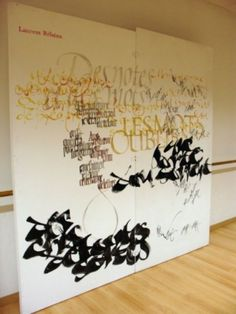 Laurent Rebena calligraphie creation performance public direct grand format pinceau contemporain