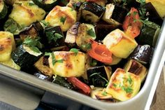 Haloumi with olives and baked vegetables recipe, NZ Womans Weekly – Bake courgette peppers and eggplant or whatever is in season in this very easy and nutritious salad and add haloumi for a bit of bite - Eat Well (formerly Bite) Baked Peppers, Vegetarian Menu, Baked Vegetables, Eggplant Recipes, Cooking Recipes, Healthy Recipes, Tray Bakes, Vegetable Recipes, Olives
