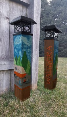 """Items similar to Happy Camper - """"Peace Pole""""/Garden Art Post on Etsy Garden Totems, Garden Art, Peace Pole, Pole Art, Happy Campers, Solar Lights, Gd, Outdoor Spaces, Surf"""