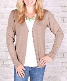 Another great find on #zulily! Mocha Button-Accent Cardigan #zulilyfinds