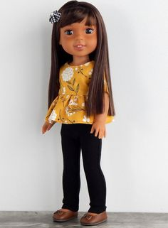 14 inch Doll Clothes-Mustard Floral Peplum Top with Black Denim Skinny Jeans Indian Costumes, Girl Costumes, American Dolls, American Girl, Wellie Wishers Dolls, Doll Crafts, Doll Stuff, Denim Skinny Jeans, Black Denim