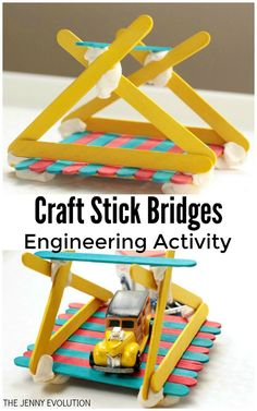 Recapture the magic of engineering with this super-fun popsicle stick bridge engineering challenge. perfect to challenge any kiddo! Popsicle Bridge, Popsicle Stick Bridges, Popsicle Stick Crafts, Craft Stick Crafts, Diy Crafts For Kids, Craft Sticks, Science Experiments Kids, Science For Kids, Science Fun